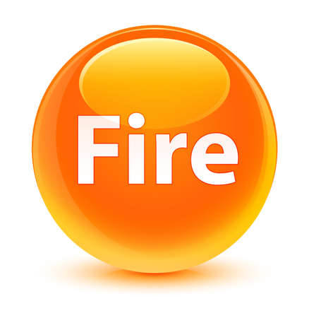 Fire isolated on glassy orange round button abstract illustration Stock Photo