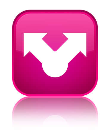 Share icon isolated on special pink square button reflected abstract illustration
