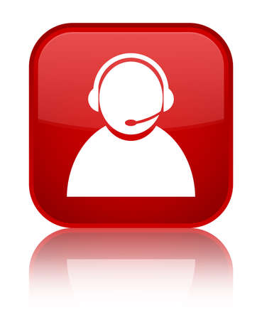 representative: Customer care icon isolated on special red square button reflected abstract illustration Stock Photo