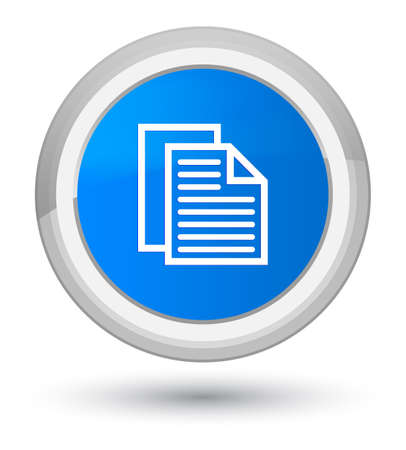 Document pages icon isolated on prime cyan blue round button abstract illustration Фото со стока
