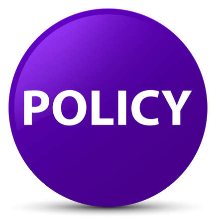 Policy isolated on purple round button abstract illustration Banco de Imagens