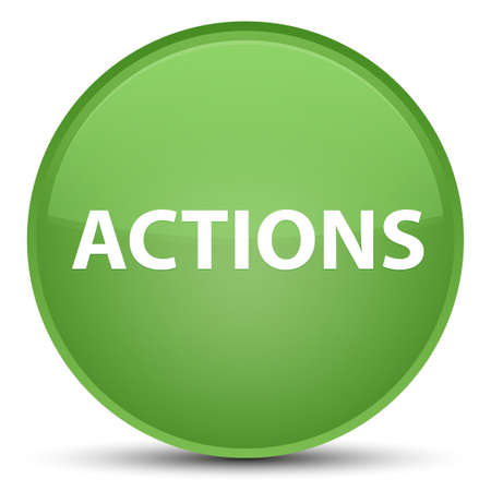 Actions isolated on special soft green round button abstract illustration Фото со стока