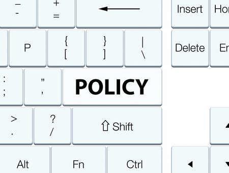 Policy isolated on white keyboard button abstract illustration