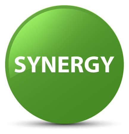 Synergie op zachte groene ronde knoop abstracte illustratie die wordt geïsoleerd