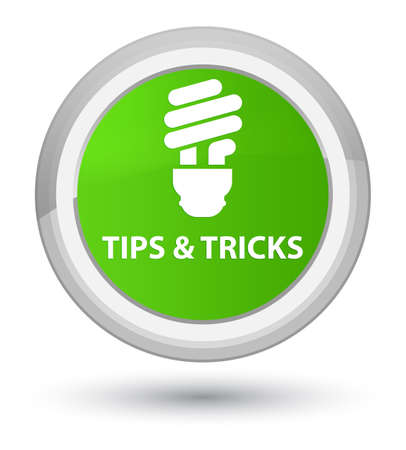 Tips and tricks (bulb icon) isolated on prime soft green round button abstract illustration