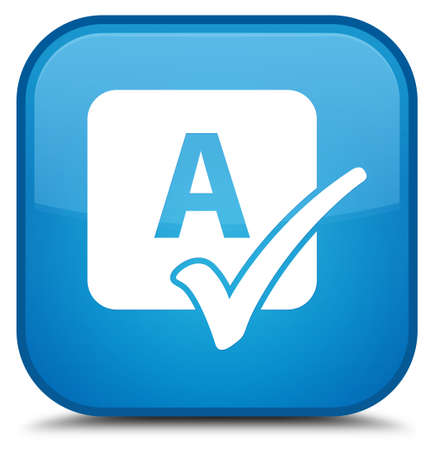 Spell check icon isolated on special cyan blue square button abstract illustration