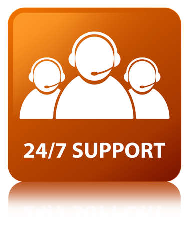 247 Support (customer care team icon) isolated on brown square button reflected abstract illustration Stock Photo