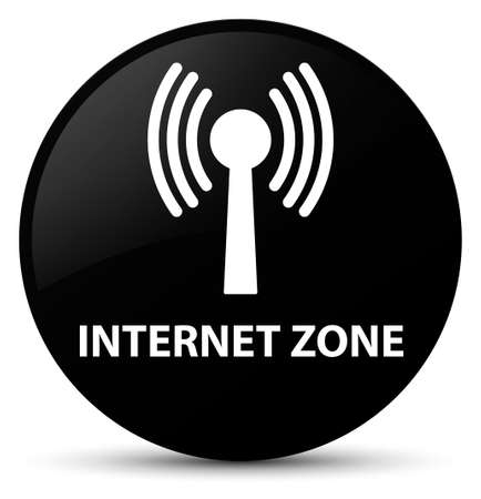 Internet zone (wlan network) isolated on black round button abstract illustration