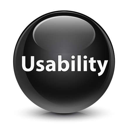 Usability isolated on glassy black round button abstract illustration Stock Photo