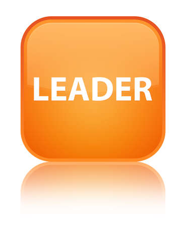 Leader isolated on special orange square button reflected abstract illustration Stock Photo