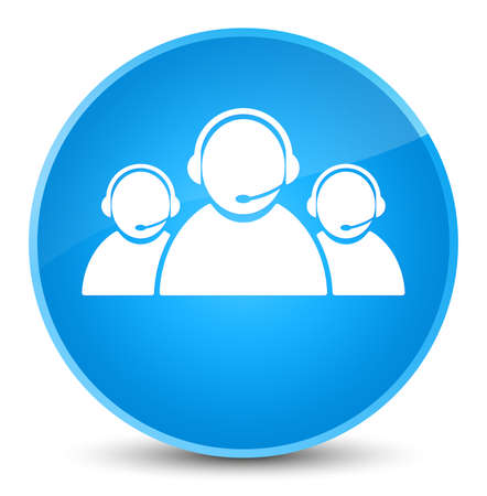 Customer care team icon isolated on elegant cyan blue round button abstract illustration