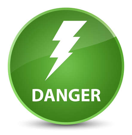 Danger (electricity icon) isolated on elegant soft green round button abstract illustration