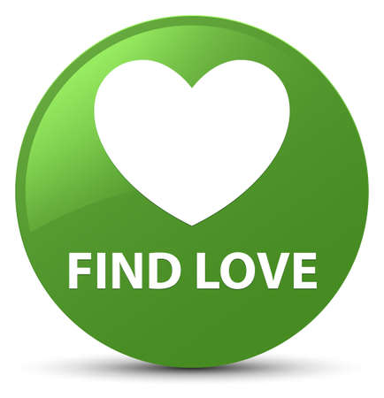 green heart: Find love isolated on soft green round button abstract illustration