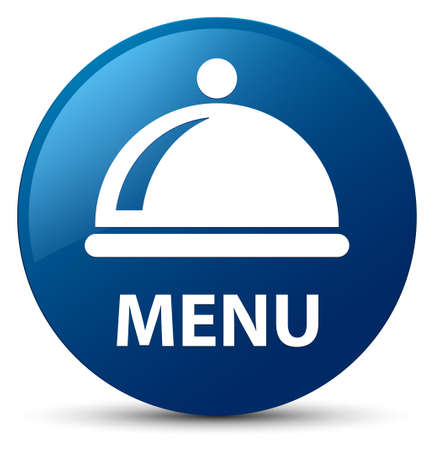 Menu (food dish icon) isolated on blue round button abstract illustration
