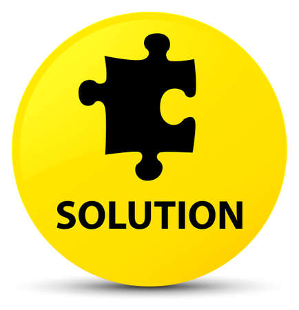 Solution (puzzle icon) isolated on yellow round button abstract illustration