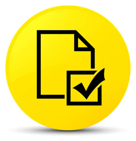 Survey icon isolated on yellow round button abstract illustration