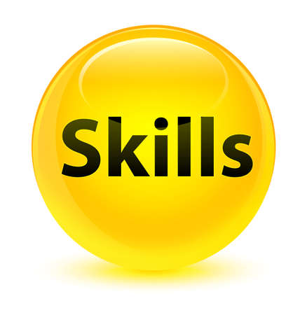Skills isolated on glassy yellow round button abstract illustration