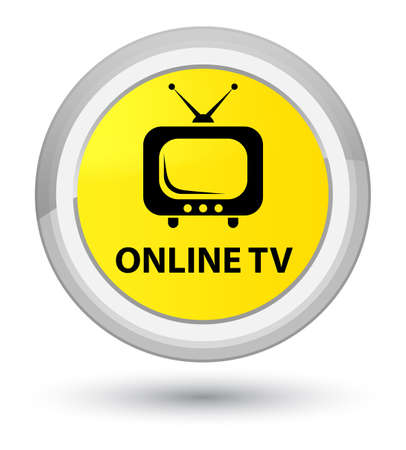 prime: Online tv isolated on prime yellow round button abstract illustration Stock Photo