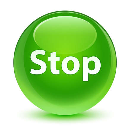 Stop isolated on glassy green round button abstract illustration Stock Photo