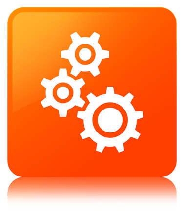 Gears icon isolated on orange square button reflected abstract illustration Stock Photo