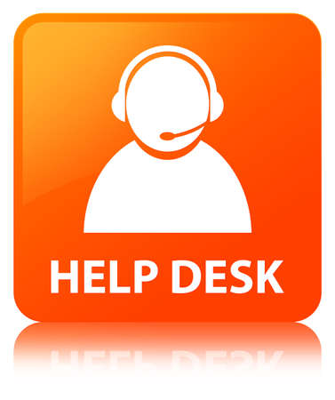 Help desk (customer care icon) isolated on orange square button reflected abstract illustration