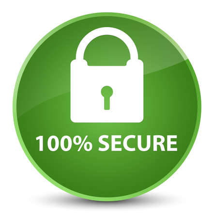 100% secure isolated on elegant soft green round button abstract illustration