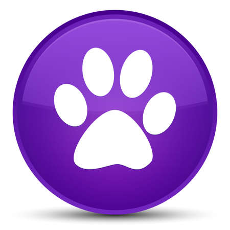 footmark: Animal footprint icon isolated on special purple round button abstract illustration