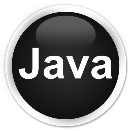 プレミアムブラックラウンドボタンの抽象イラストで隔離されたJava