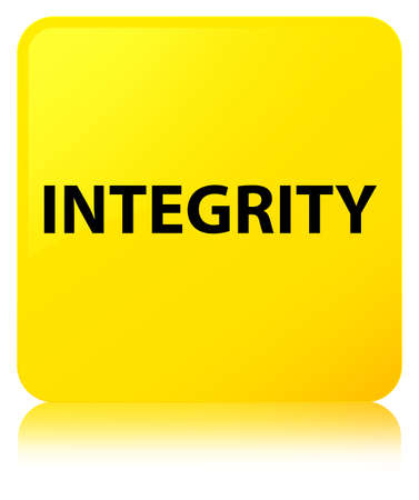 Integrity isolated on yellow square button reflected abstract illustration