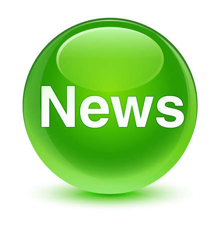 News isolated on glassy green round button abstract illustration