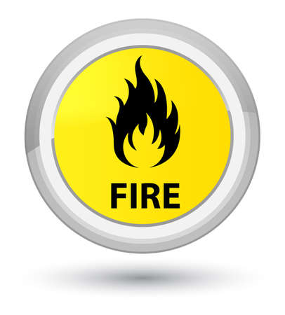 Fire isolated on prime yellow round button abstract illustration