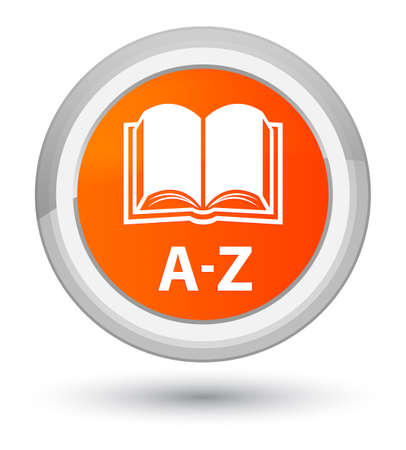 A-Z (book icon) isolated on prime orange round button abstract illustration