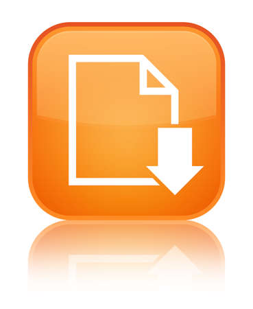 Download document icon isolated on special orange square button reflected abstract illustration