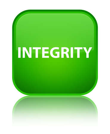 Integrity isolated on special green square button reflected abstract illustration