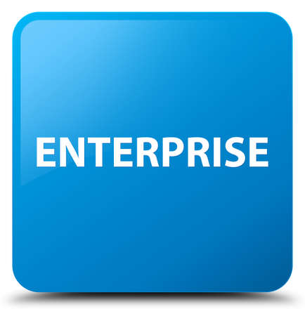 Enterprise isolated on cyan blue square button abstract illustration Stok Fotoğraf