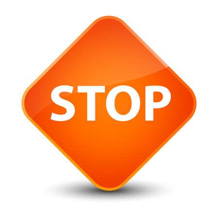 Stop isolated on elegant orange diamond button abstract illustration