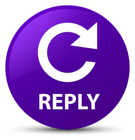 Reply (rotate arrow icon) isolated on purple round button abstract illustration Stock Photo