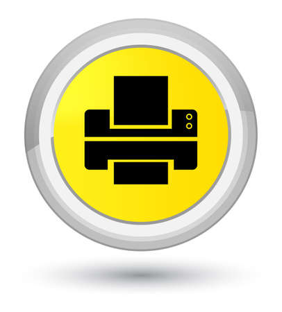 Printer icon isolated on prime yellow round button abstract illustration Stock Photo