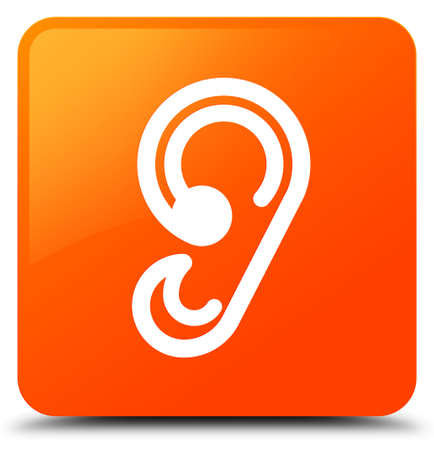 Ear icon isolated on orange square button abstract illustration Stock Photo