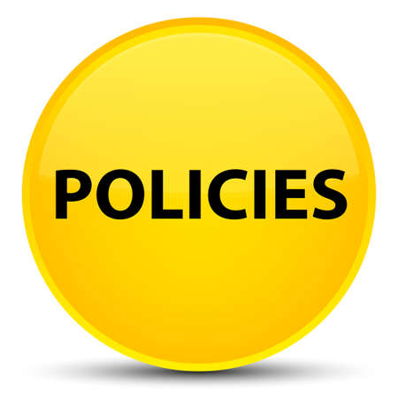 Policies isolated on special yellow round button abstract illustration