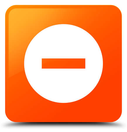 Cancel icon isolated on orange square button abstract illustration
