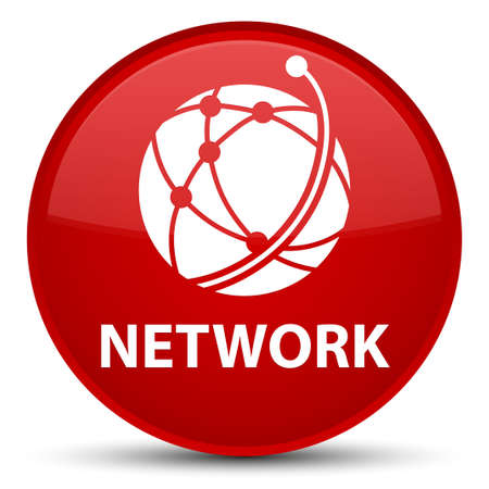 Network (global network icon) isolated on special red round button abstract illustration