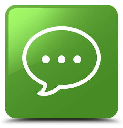 Talk bubble icon isolated on soft green square button abstract illustration Stock Photo