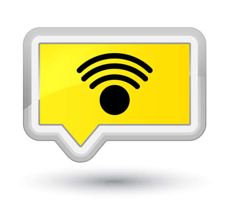 Wifi icon isolated on prime yellow banner button
