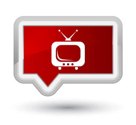 TV icon isolated on prime red banner button abstract illustration Stock Photo