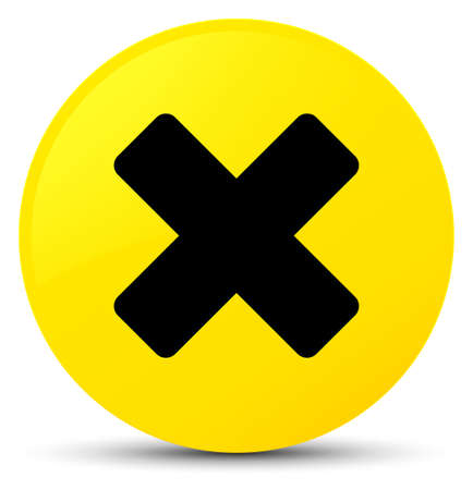 Cancel icon isolated on yellow round button abstract illustration Stock Photo
