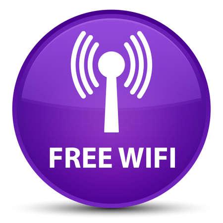 Wifi gratuit (réseau WLAN) isolé sur illustration abstraite de bouton rond violet spécial Banque d'images - 90457300