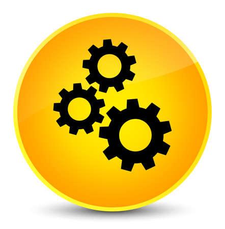 cogwheel: Gears icon isolated on elegant yellow round button abstract illustration Stock Photo