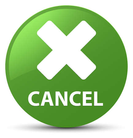 Cancel isolated on soft green round button abstract illustration 写真素材