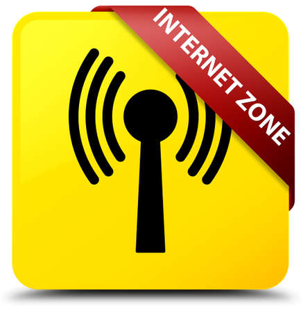 Internet zone (wlan network) isolated on yellow square button with red ribbon in corner abstract illustration